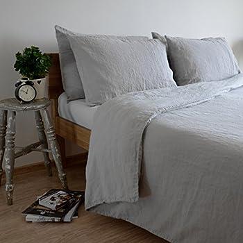 Nice Linen U0026 Cotton Stonewashed Leinen Bettwäsche, Bettwäsche Set ALICIA   100%  Leinen, 200 X 200cm (Double), Hellgrau Great Pictures