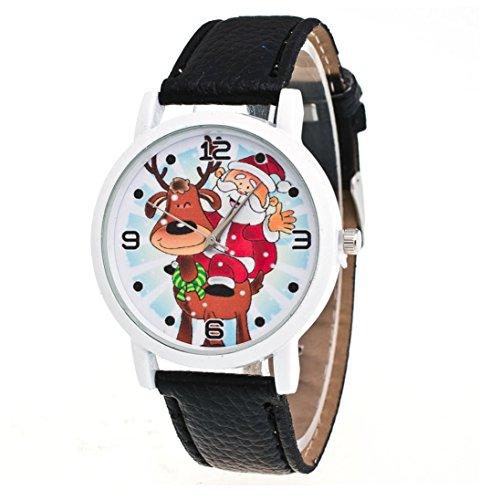 Zolimx Weihnachten Älteres Muster Lederband Analog Quartz Vogue Uhren (Schwarz)