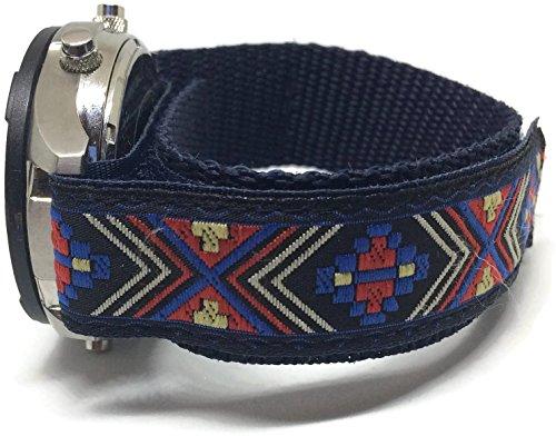 Correa azul para reloj con cierre de velcro y estampado de colores