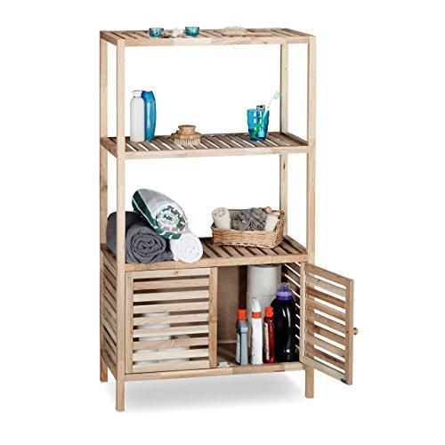 Relaxdays Badschrank Holz mit 4 Ablagen, breites Badregal, Walnuss Regal Bad u. Küche, HxBxT: 123 x 68 x 36 cm, natur (Bücherschrank Offenen)