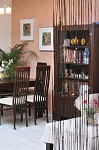 150x245 braun schoko schokolade Spaghetti Vorhang Vorhänge Kristallen Kräuselband Wäschenetz Fensterdekoration Gardine brown choco chocolate Spaghetti