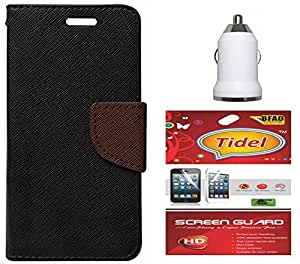 Tidel Premium Table Talk Fancy Diary Wallet Flip Cover Case for Coolpad Note 3 Lite With Screen Guard & Car Charger Adapter