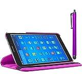 ebestStar - Cover Compatibile con Samsung Galaxy Tab 4 8.0 SM-T330, T331 SM-T335 Custodia Protezione Pelle PU con Supporto Rotazione 360 + Penna, Viola [Apparecchio: 210 x 124 x 8mm, 8.0'']