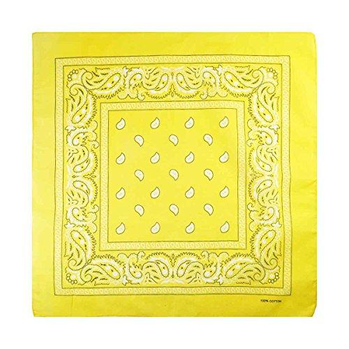 Unisex Bandana, aus 100 % Baumwolle, Paisley, Uni, Totenkopf, verschiedene Farben Gr. Einheitsgröße, Paisley-Yellow