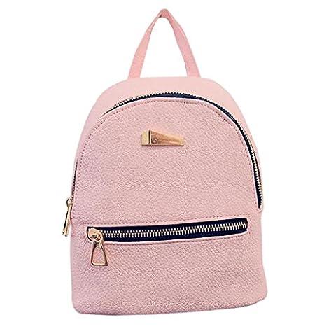Internet Femmes filles Cuir artificiel voyage sac à dos stries cartable sac à dos à capuche (Rose)