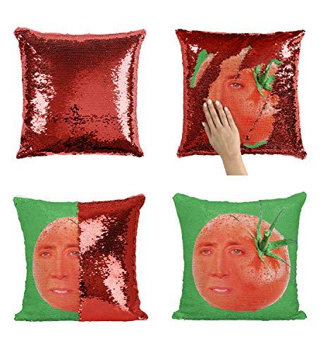 Nicolas Cage Tomato P112 Sequin Pillow, Almohada, Regalo Divertido, Sequin Pillowcase, Funda de Almohada, Scales Pillow, Pillow Gift, Magic Pillow, [with Insert]
