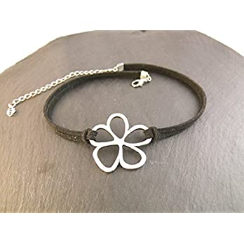 Choker Halskette Kette Kropfband Halsband Blume Blüte enganliegend Handmade