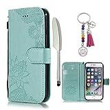 KM-Panda Apple iPhone 7 8 Leder Tasche Klapphülle Schutzhülle Handytasche Ledertasche Handyhülle Lederhülle Flip Case hülle mit Kartenfächer - Spitze Blau