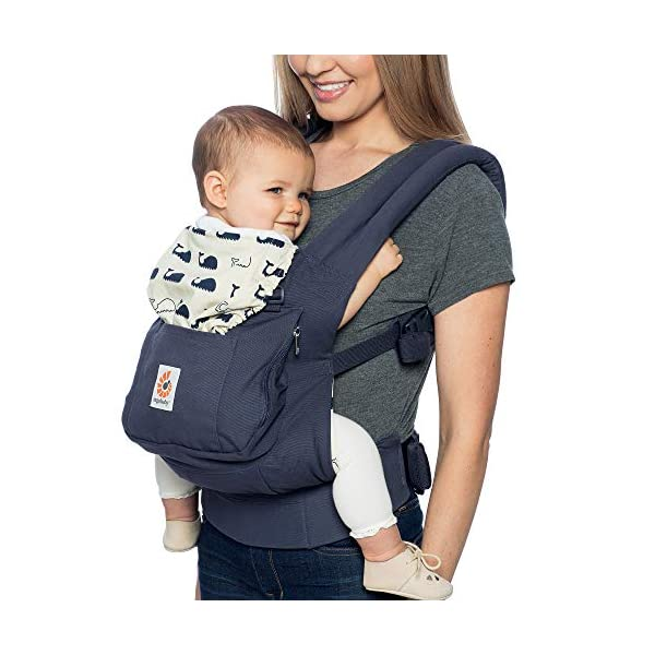 "Ergobaby Baby Carrier Front and Back Original Marine 5.5 to 20kg, Ergonomic Breathable Child Carrier Backpack, BCANMARINE Ergobaby Ergonomic Baby Carrier - Ergonomic for baby with wide deep seat for a spread-squat, natural ""M"" seated position. Baby carrying system with 3 carry positions:  front-inward, hip and back. From baby to toddler: 5.5*-20 kg / 12*-45 lbs (* from 3.2-5.5 kg / 7-12 lbs with Infant Insert, sold separately). Maximum wearing comfort - Lumbar support waistbelt (adjustable from 66-140 cm / 26-52 in) that can be adjusted to the height of the carry position. Longer lasting wearing comfort thanks to optimum weight distribution across the wearer's shoulders and hips. 3"