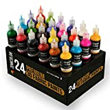 ⭐24 Bottles of 3D Fabric Paint Zenacolor - Squeeze The Tubes (29mL) to Apply The Paint to Textiles (Cotton) - Fabric Paints for T-Shirts, Personalise Your Clothes and Decorate Canvas, Wood, Glass