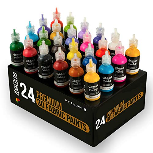Zenacolor ⭐24 tubetti di pittura stoffa e tessuti in 3d - premete i tubetti (29ml) per stendere il colore sui tessuti (cotone) - personalizzare t-shirt, vestiti e decorare tela, legno, vetro