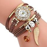 HUIHUI Uhren Damen, Geflochten Armbanduhren Günstige Uhren Wasserdicht Casual Analoge Quarz Uhr Luxus Armband Coole Uhren Lederarmband Mädchen Frau Uhr (Braun)