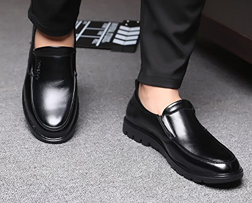Anlarach Hommes Cuir Slip On Casual Wider Fitting Chaussures Habillées de Travail Loafer Flats Noir