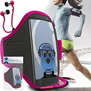 Pink Black Adjustable Sports GYM Jogging Running ArmBand Case Cover with 3.5mm Zip Style Headphones For Yezz Classic C23A
