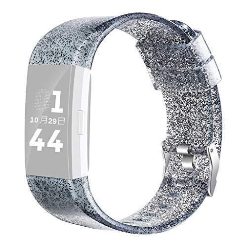 WAOTIER für Fitbit Charge2 Armband Silikon Armband mit Glizer Deko Armband Wasserdicher Ersatzband für Fitbit Charge 2 Armband mit Edelstahl Verschluss (Schwarz)