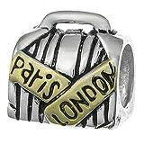 2-tone Antqiue 925sterling Silver Business valigia Parigi Londra bagaglio borsa da viaggio con perline per braccialetti europei