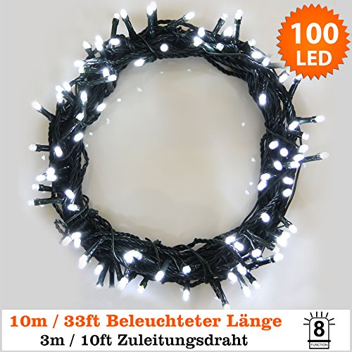 100 LED Helle weiße Lichterketten String Licht 8 Funktionen / 10 Meter - Power Betrieb LED Lichterketten - Ideal für Weihnachtsdeko LED Lichterkette (100 LED-10M) - Grünes Kabel - Innen und Außen