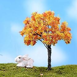 Mini-Simulationsbaum, DIY Mikro-Landschaft, künstliche Bonsai-Pflanze, Miniatur-Kunstharz, Handwerk für Zuhause und Garten goldfarbene blume