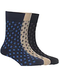 Hush Puppies Men's Calf Length Soft Combed Cotton Pack of 3 Pair Socks