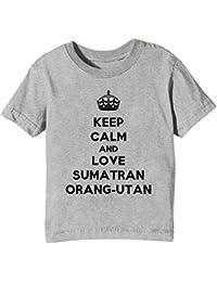 Erido Keep Calm and Love Sumatran Orang-UTAN Kinder Unisex Jungen Mädchen T-Shirt Rundhals Grau Kurzarm Alle Größen Kids Boys Girls Grey All Sizes