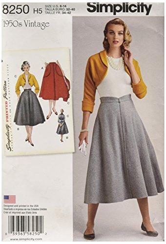 Simplicity 8250H5Robes Vintage 1950Jupe pour boléro et Patron de Couture, Blanc, Tailles 6-8-10-12-14