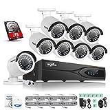 SANNCE Überwachungssystem 8CH 1080P Überwachungskamera Set CCTV NVR System echtes POE NVR Rekorder mit 8 x 1080P IP Videoüberwachung Kamera und 2TB Festplatte,Nachtsicht für innen und außen