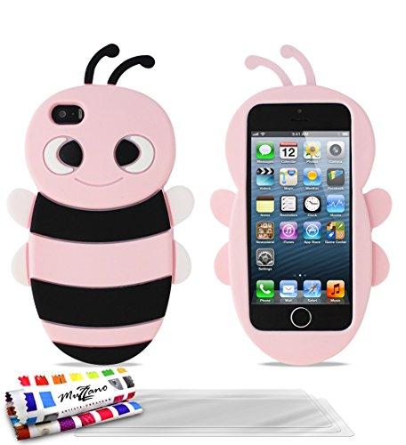 Bumper APPLE IPHONE 5S / IPHONE SE [Le Bumper Colors Premium] [Rosa] von Muzzano + UltraClear Pack 3Display Schutzfolie Transparent mit Stylus/Reinigungstuch für - Das ULTIMATIVE, ELEGANTE UND LANGLE Rosa + 3 Displayschutzfolien