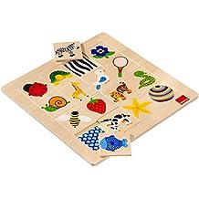 Goula - Puzzle tramas, 16 piezas de madera y tela (Diset 53019)