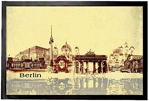 1art1 94318 Berlin – Städte-Collage, Vintage Style Fuß-/Türmatte, Polyamid/PVC, bunt, 60 x 40 x 0.5 cm