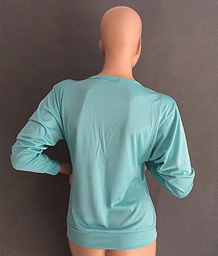 Smile YKK Reissverschluss Damen Baumwollmischnung Langarmshirt Shirts T-Shirt Oberteil Herbst Sommer Pullover Top Blau