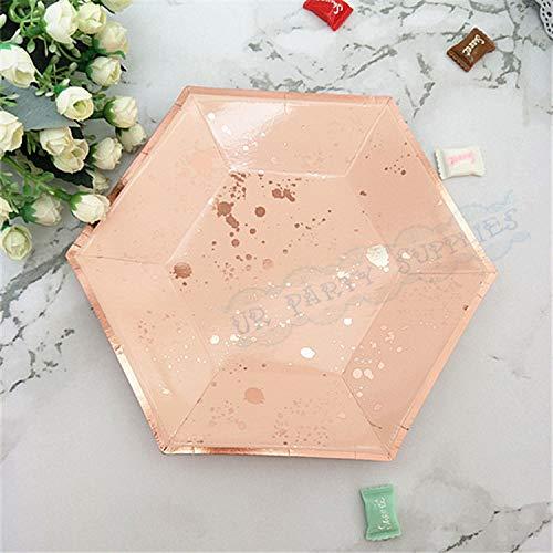 2 Stücke Marine Rosa Rose Gold Papier Platten Kleine Gerichte Party Platten Für 1. Geburtstag Baby Shower Hochzeit Dekoration, Muster 3 ()