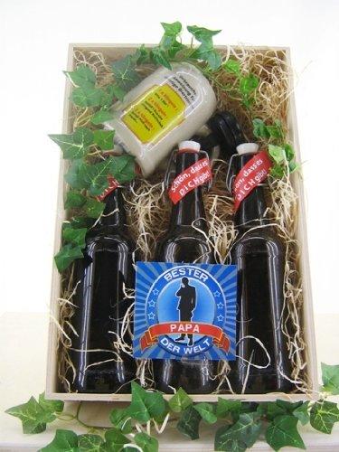 """Bierkiste aus Holz, 3 Bierflaschen mit Etikettdesign, Spruch """"Bester PAPA"""" Bierkrug und Dekoration"""