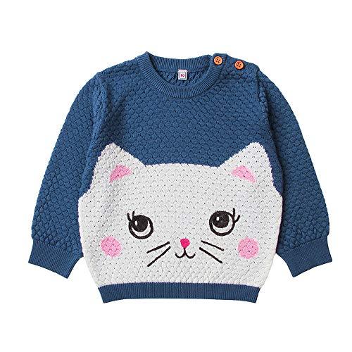 Shopaholic0709 Babykleidung,(6M-24M) 82W350 Baby-Lange Hülsen-Gestrickte Karikatur-Kätzchen-Katzen-Muster-Strickjacken-Spitze Rosa, Blau, Grau Baby Jungen Mädchen