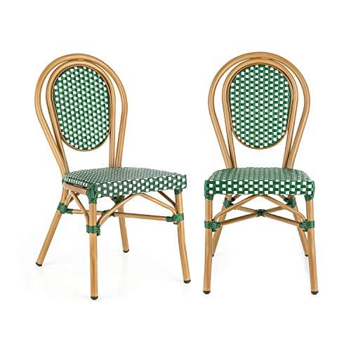 Blumfeldt montpellier gr - sedia da bistrot, impilabile, struttura in alluminio, polyrattan, gambe con rivestimento a polvere, facile pulizia, resistente alle intemperie, verde