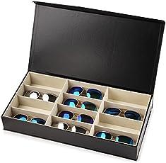 Asvert Brillenbox für 12 Paar mit Glasfenster Kastenbrillen Sonnenbrillekasten Aufbewahrungsbox aus PU Leder 48.5cm×25cm ×7.2cm, Schwarz