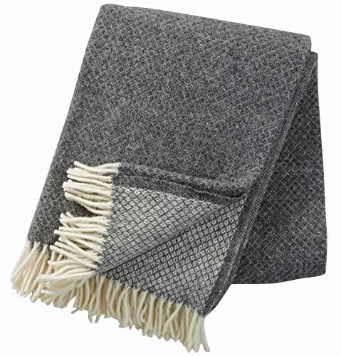 KLIPPAN: Creme-graue Wolldecke mit Rautenmuster 130x200cm aus Lambswool, ca 900 g