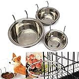 Yosoo Gancio in acciaio INOX per pappa con ciotola per cani e animali domestici, con cucciolo di cane, gatto, uccello, coniglio per l'acqua o il cibo, tazze-Supporto a gabbia, con morsetto