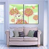 NAUY-Modern Style Canvas Painting Lleno de Felicidad Reloj de Pared en Lona 2pcs