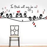 #6: DeStudio Bird Singing, Multi Color, Wall Stickers (Wall Covering Area : 90cm X 70cm)-11287
