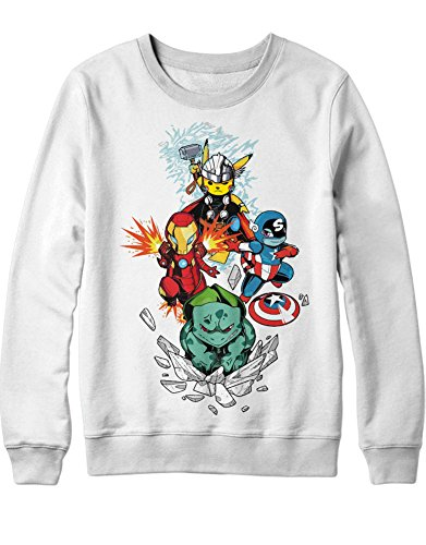Sweatshirt Pokemon Go Pikachu The Avengers Cross Over C210017 Weiß XXL (Pokemon Misty Kostüm)