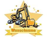 plot4u Bagger Wandtattoo Türschild mit Name personalisierbar Kinderzimmer Türaufkleber Baby Wandaufkleber in 9 Größen (50x43cm mehrfarbig)