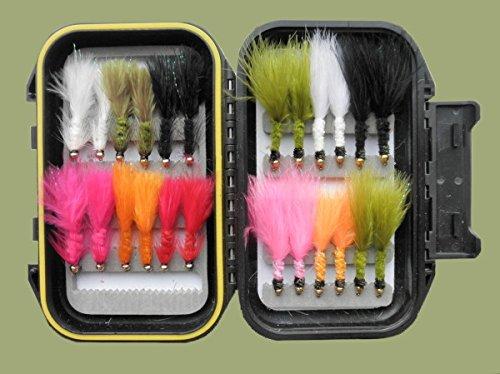 Troutflies UK Boxed Fishing Flies Tadpole & Wooly Bugger Köder für Fliegenfischen, 24pro Box, Größe 10, Mix Farbe -