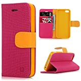 iPhone SE Case,iPhone 5 & 5S Case, YOKIRIN Premium Soft PU Leather Notebook Wallet Cover Case with [Kickstand] Credit Card ID Slot Holder Magnetic Closure Design Folio Flip Protective Slim Skin Cover for iPhone SE & 5 & 5S, Hot Pink