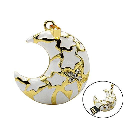 Civetman Gold USB Flash Drive Schmuck 32GB Crystal Diamond Sterne Mond Stil USB 2.0 Pendrive für Liebhaber