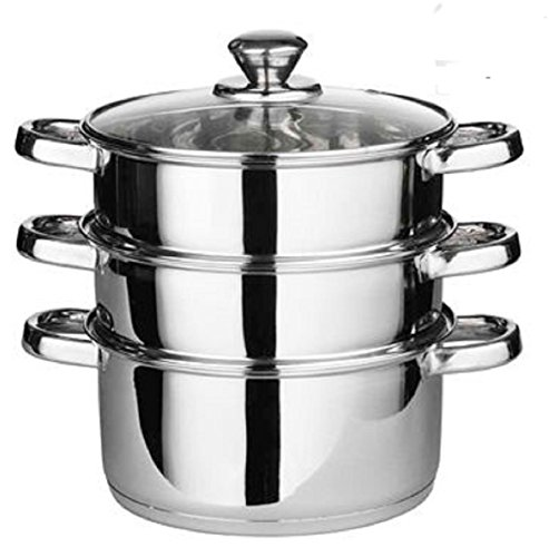 24cm 4pc Steamer Cooker Pot Set Pan Cook Food Glass Lids 3 Tier Stainless Steel Suitable For Gas Electric Hobs And Solid Hot Plates Brand New And High Quality
