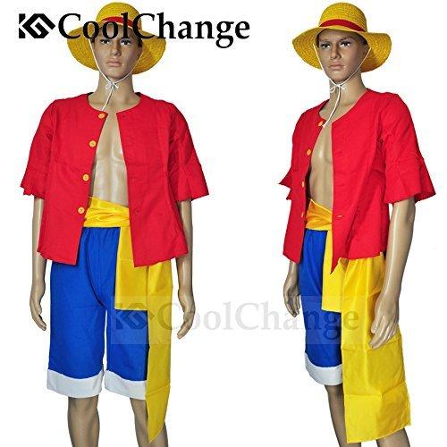 CoolChange One Piece Kostüme Monkey D. Ruffy nach 2 jähriger Trennung Hemd Hose Hut (XXL)