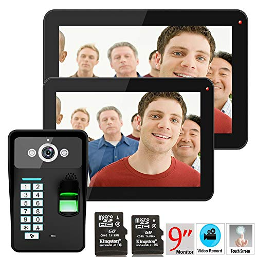 Hardwired Chime Kit (NBKLS Video-Türklingel 9 Zoll 2 Monitor aufzeichnen RFID-Passwort Fingerabdruck Erkennung 900TVL Video-Tür-Telefon Intercom rainsichere Nachtsicht 8G TF-Karte)