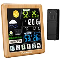 FLOUREON Wireless Home Weather Station Indoor Outdoor Weather Monitoring Clocks Thermometer Temperature Humidity Alarm Clock with Outdoor Sensor LCD Touch Screen