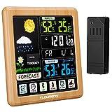 FLOUREON Stazione Meteorologica Automatica Digitale Wireless Stazione Meteo con Sensore Esterno Ampio Schermo LCD Display Sveglia Tempo Data Temperatura umidità Termometro Previsioni di Tempo
