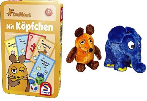 Die Maus / Sendung mit der Maus - Schmidt Spiele 51255 Mit Köpfchen + Plüschfigur Maus (25 cm) & Elefant (17x19 cm) im Set - Deutsche Originalware